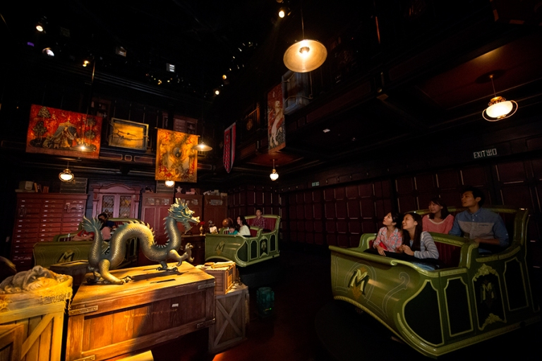 Inside Mystic Manor on the ride
