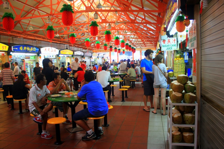 A typical hawker in Singapore