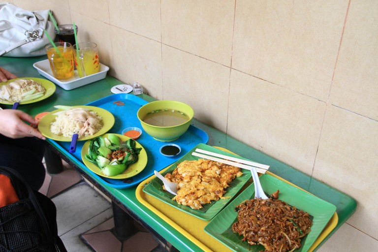 Food can be taken from the vendor to an empty table or bench