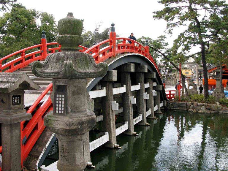 The famous red bridge of the Sumiyoshi Shrine