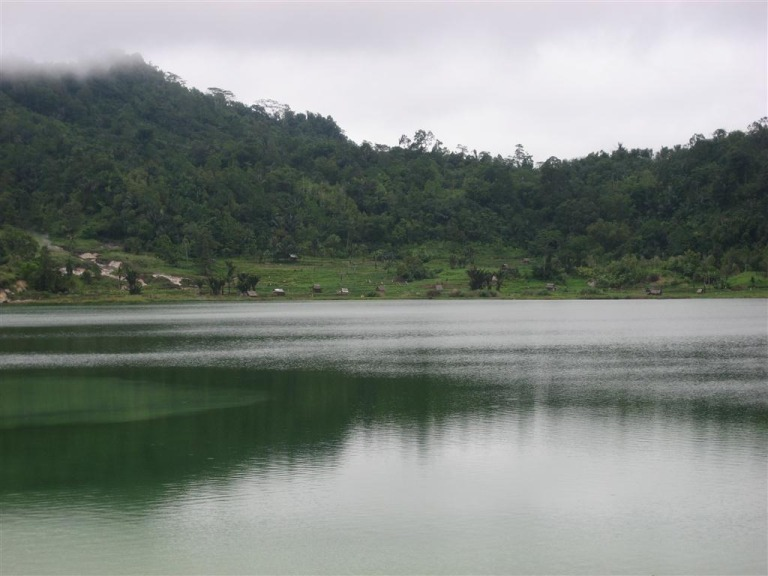 The lake at the foot of Mount Lokon