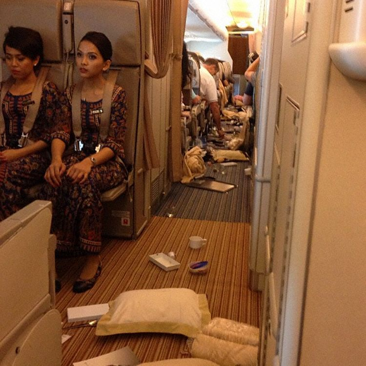 Singapore Airlines cabin after some heavy turbulence