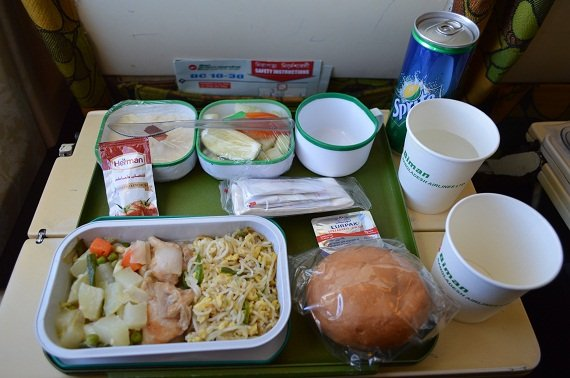 Simple but effective meals in Biman's economy class cabins