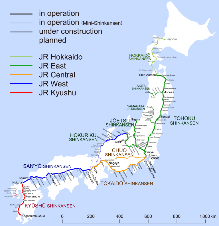 Shinkansen Map, 2016. (Click to enlarge)