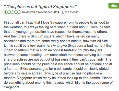 A pretty typical review of Sim Lim Square on TripAdvisor