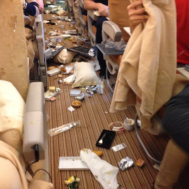 The aftermath of Flight SQ308 hitting turbulence.
