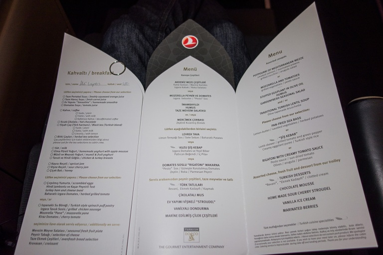 Turkish Airlines' Business Class Menu (Photo: Bart Lapers)
