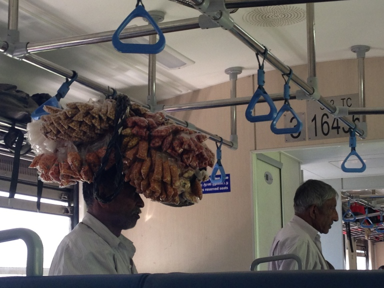Snacks being sold on the train to Kandy