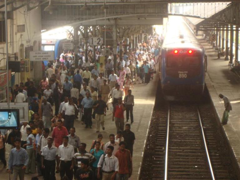 Busy Colombo Train Station