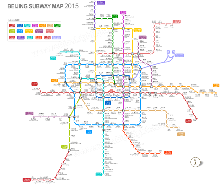 Beijing Subway Map, 2016 (click to enlarge)