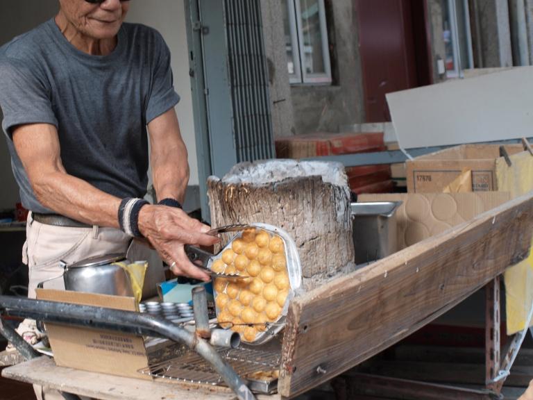 Egg Waffles being prepared