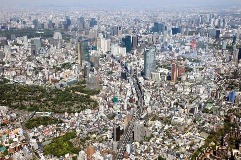 An aerial shot of the Tokyo metropolis