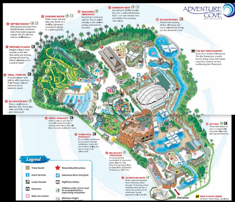 The official park map of Adventure Cove (Click to enlarge)
