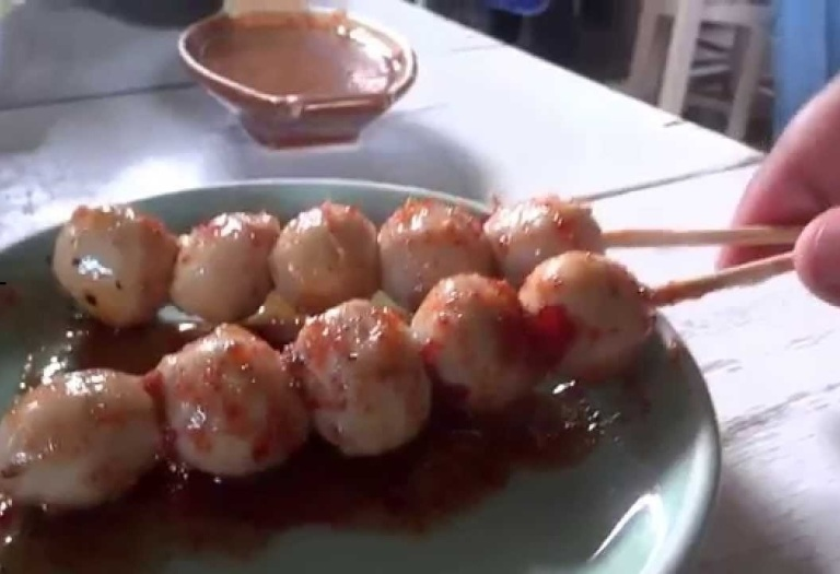 Luk Chin Ping are grilled meatballs on skewers