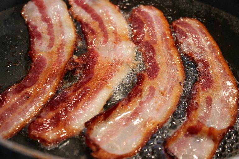 Sizzling rashers of bacon