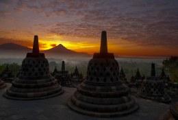 Sunrise at Borobudur in Java