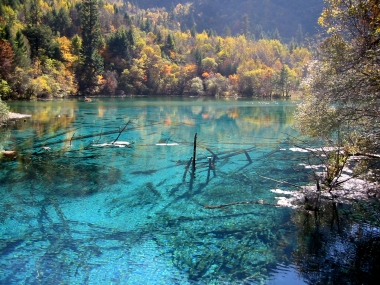 Jiuzhaigou National Scenic Area in Sichuan Province, China