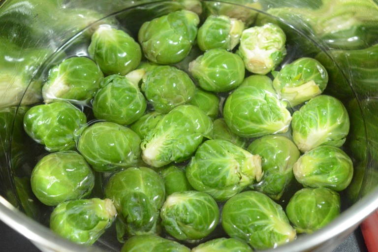 Brussel Srouts being prepared.