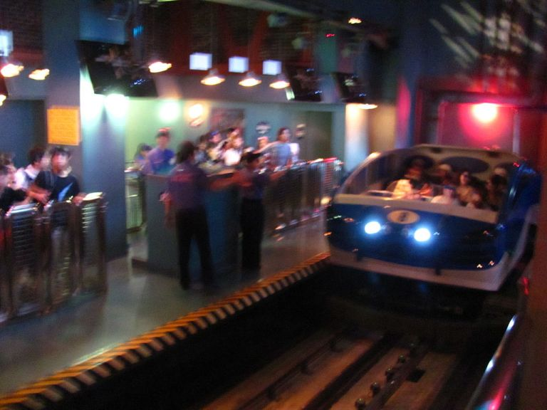 The loading station inside the Spider-Man ride