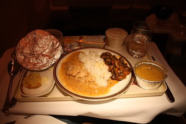 In first class, Air India serve up some pretty nice food from their menu