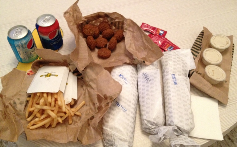 A typical Just Falafel meal from Dubai
