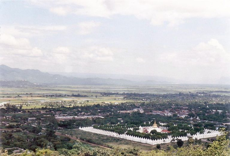 Kuthodaw Pagoda seen from near the top of nearby Mandalay Hill