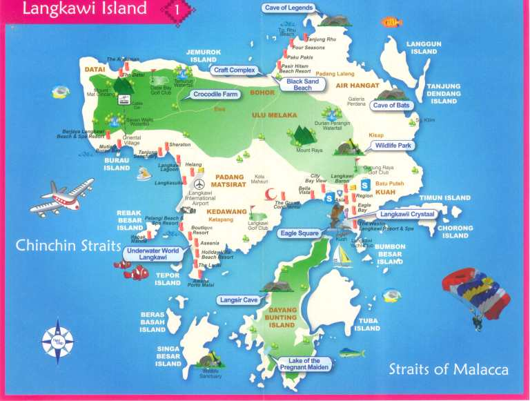 Map of Pulau Langkawi, courtesy of OrangeSmile.com (click to enlarge)