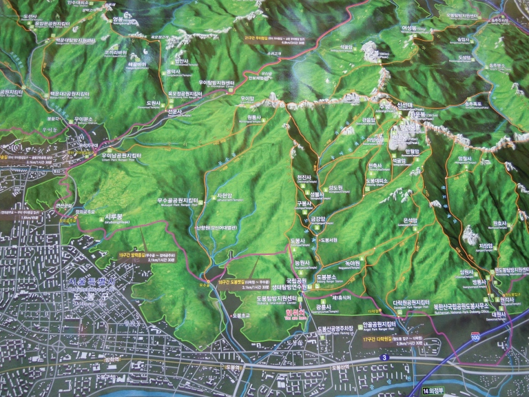 Hiking map of Bukhansan National Park (click to enlarge)