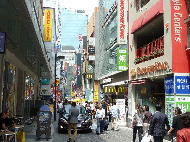 Just around the corner from my hostel: KFC, Starbucks, Smoothie King AND McDonald's!