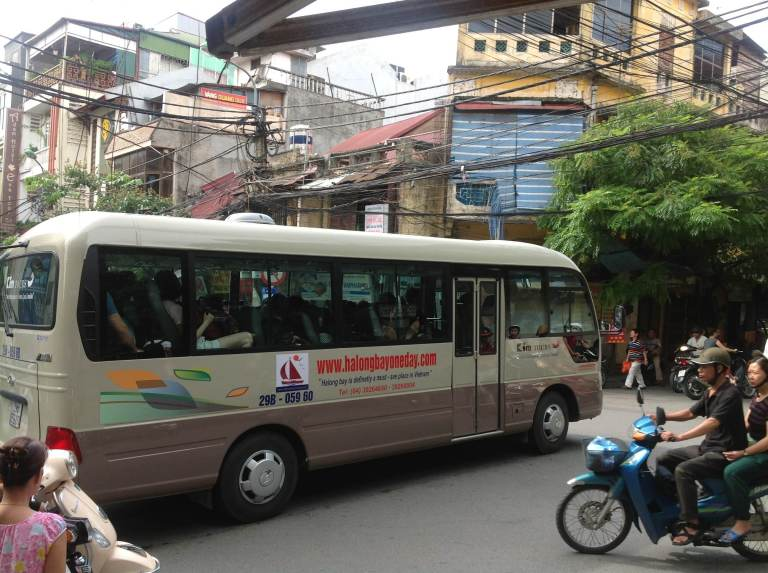 Most people will take the bus from Hanoi to Halong Bay