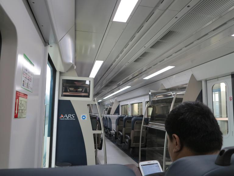 Onboard the Kuala Namu Airport RailLink train to the city centre