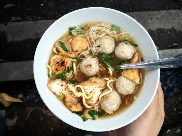 Mie Bakso (meatballs and noodles) purchased from a street food vendor in Yogyakarta