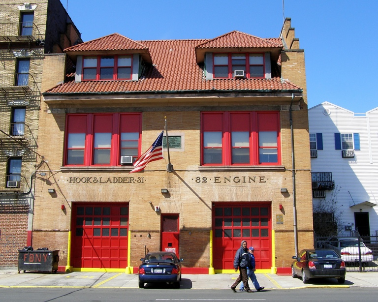 A fire station in the Bronx