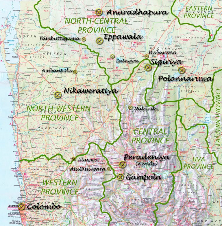 A map of the central part of Sri Lanka (click to enlarge)