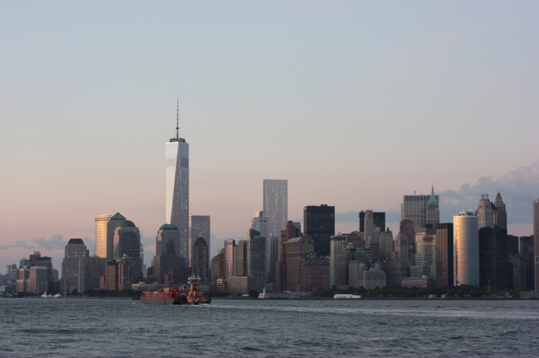 The Freedom Tower in Lower Manhattan stands where the World Trade Center once stood