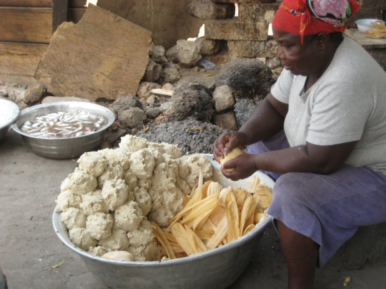 Kenkey is sold by the bucket load in Ghana