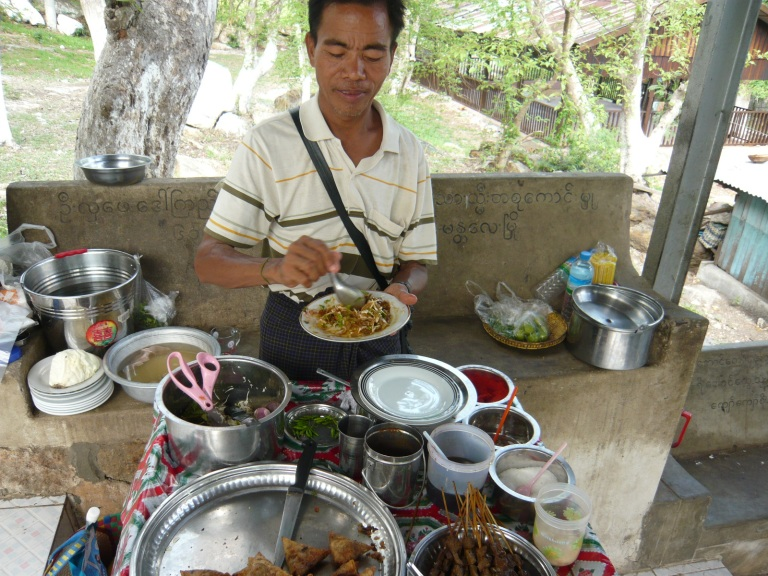 This guy atop Mandalay Hill sold Ohn Htamin (and much, much more!)
