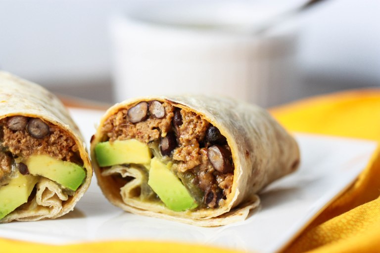 A turkey and bean burrito