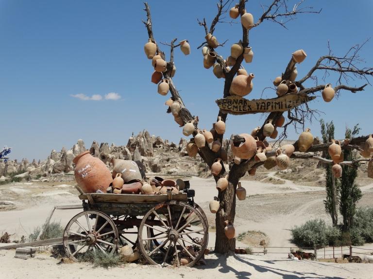Pottery tradesmen sell their wares all around Cappadocia