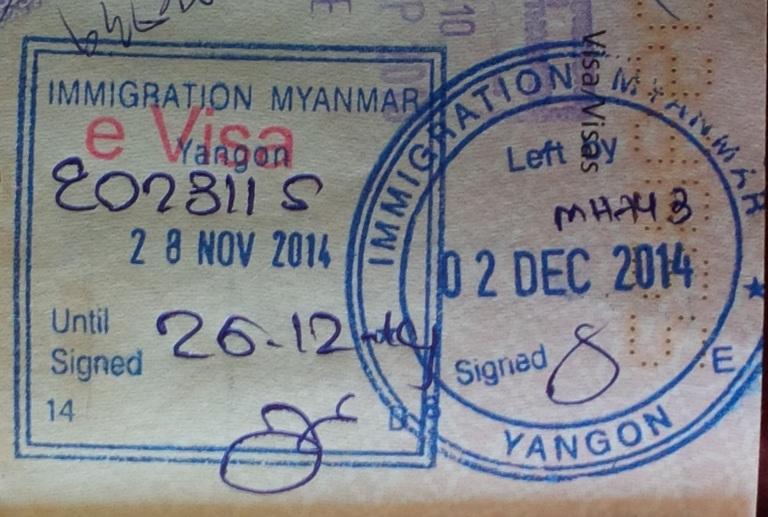 An example of Myanmar visa stamps