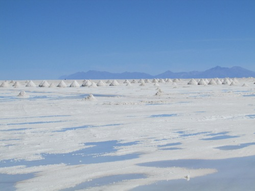 The Bolivian salt flats stretch for hundreds of miles