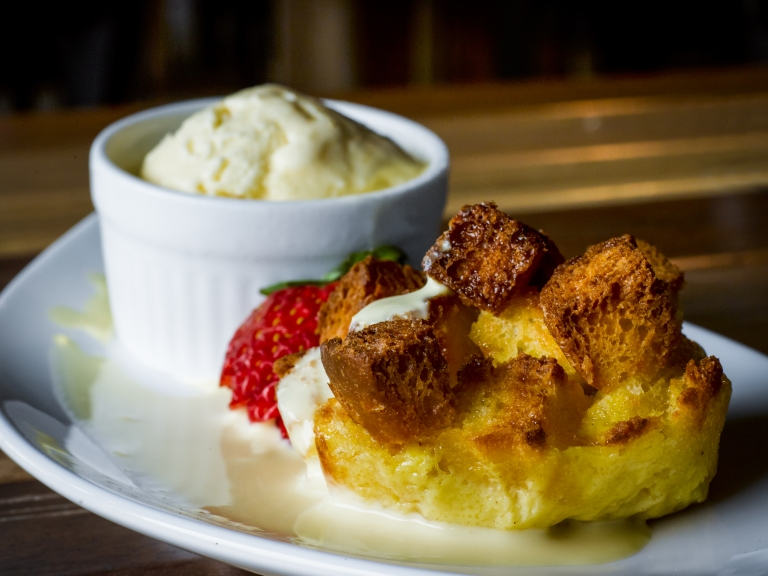 Bread and Butter Pudding (seen here with ice cream)