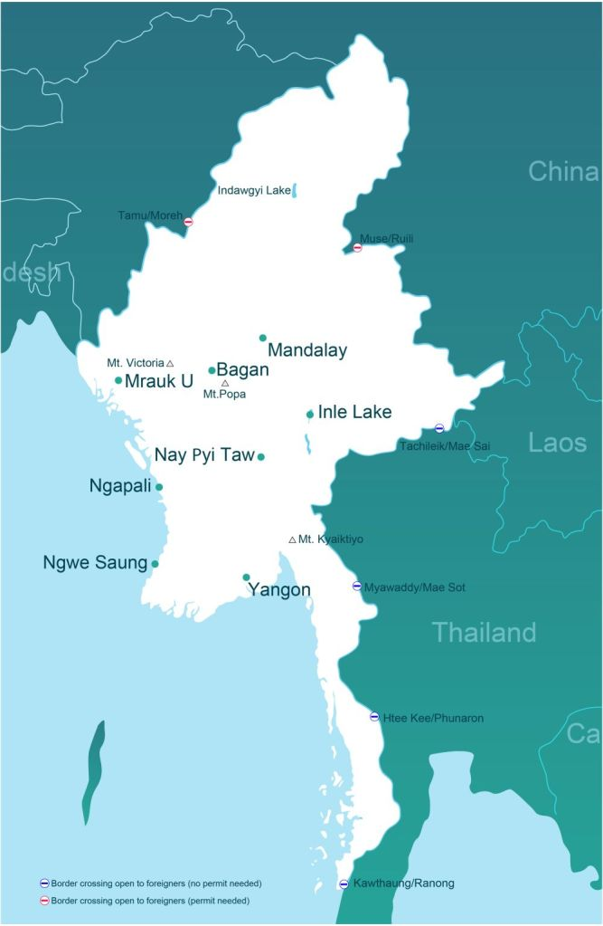 A map showing the legal border crossings between Thailand and Myanmar (click to enlarge)