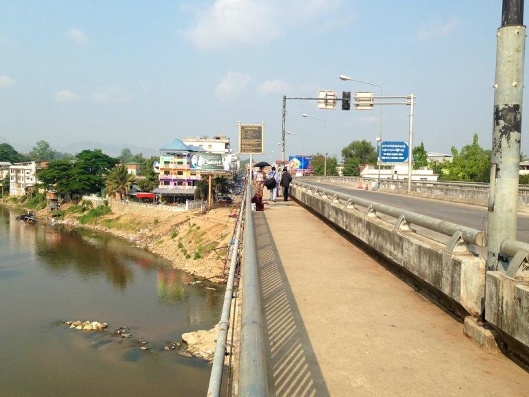 Walking across the Friendship Bridge between Mae Sot (Thailand) and Myawaddy (Myanmar)