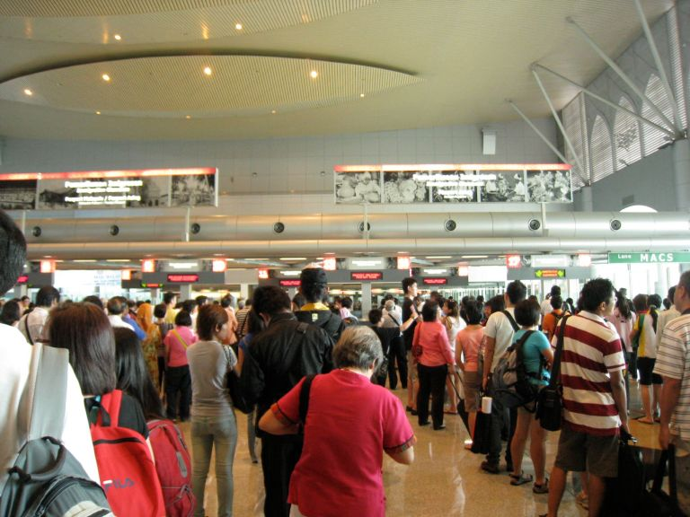 Busy at Singaporean Immigration