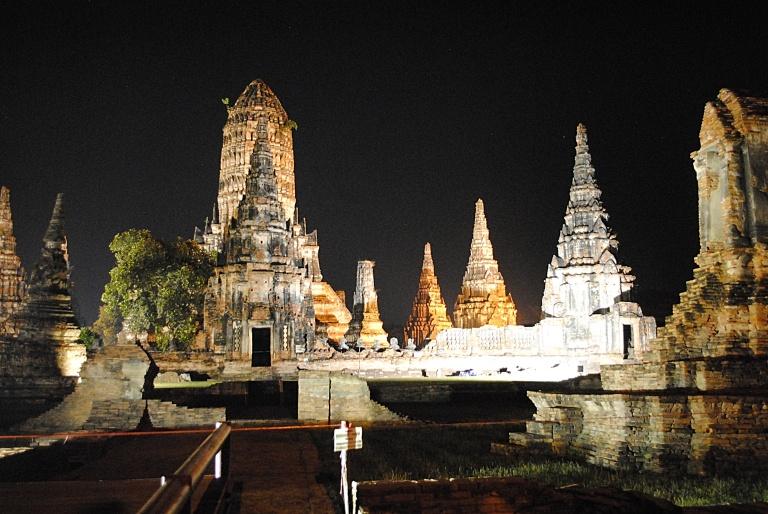 Ayutthaya Historical Park, by night