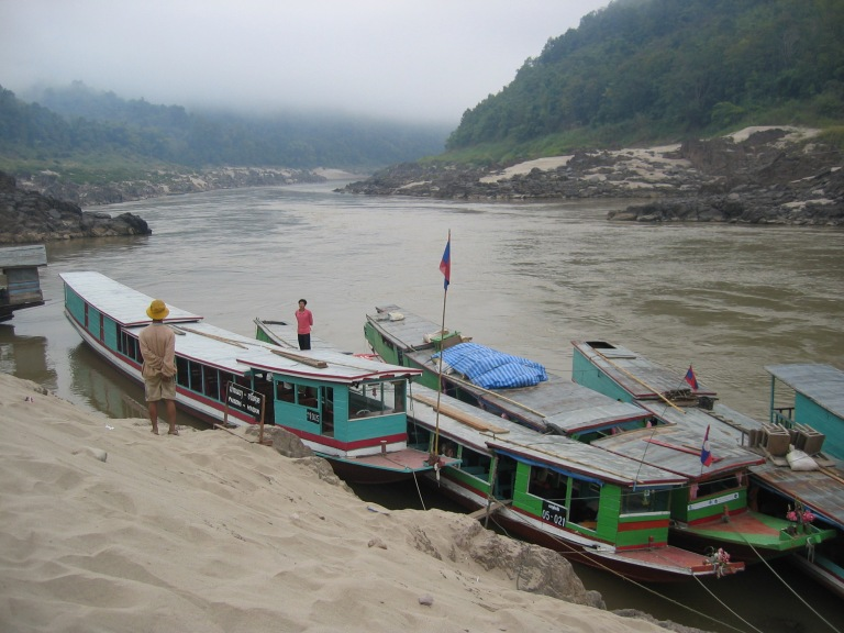 Boats ready to leave Pakbeng for the second leg of the trip