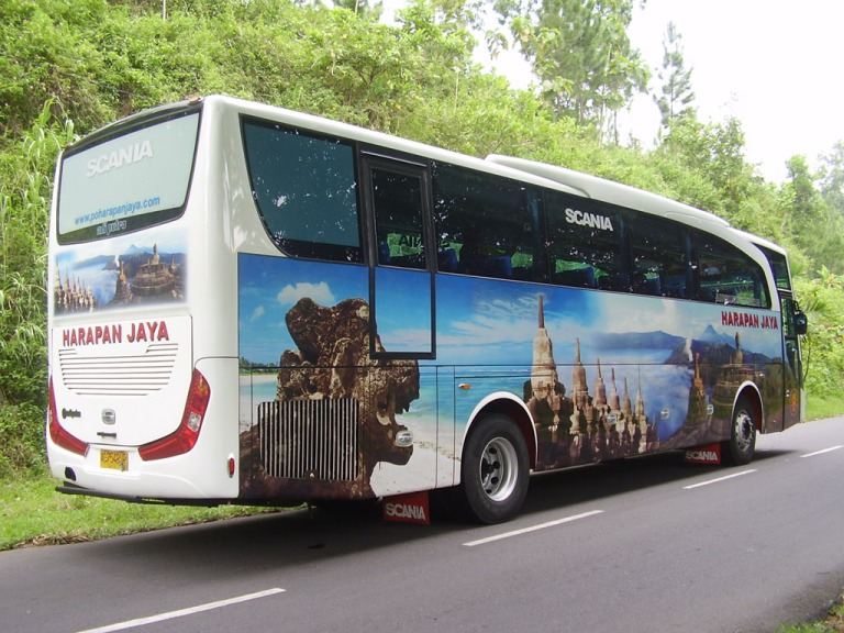 Coaches like these will take you to the Borobudur temple complex