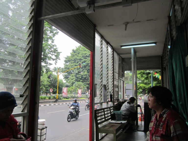 Waiting for the Trans Jogja bus