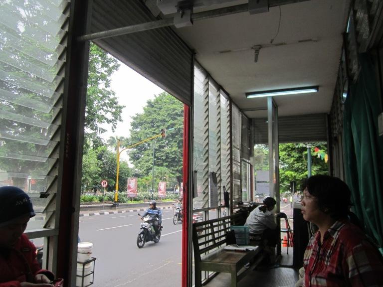 Waiting for the Trans Jogja bus